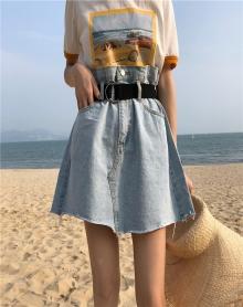 原宿风chic裙子夏女2018新款花苞裙半身裙牛仔高腰小个子短裙xs春