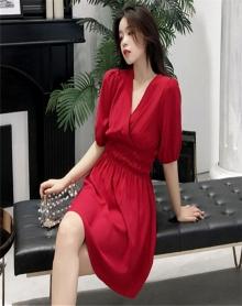 慵懒风裙子夏装2018新款韩版宽松气质高腰显瘦冷淡风连衣裙极简女