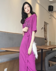 夏装2018新款女装复古连衣裙女高腰百搭韩版中长款打底裙子送腰带
