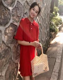 夏装2018新款韩版木耳边宽松百搭显瘦短袖Polo领中长款T桖连衣裙