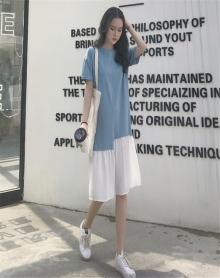 温柔少女心仙女裙韩版显瘦夏装2018新款宽松拼接冷淡风连衣裙极简