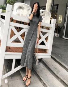 夏装2018新款韩版chic复古温柔裙超仙收腰短袖亮丝冷淡风连衣裙女