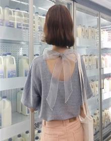 2018新款夏装韩版时尚露背亮丝蝴蝶结短袖T恤女怪味少女上衣服