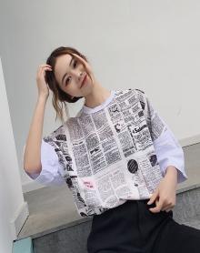 怪味少女上衣报纸网红同款衣服女原宿风短袖女韩版复古宽松心机bf