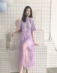 夏装2018新款韩版温柔裙超仙少女宽松网纱拼接冷淡风连衣裙子极简