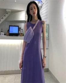 夏装2018新款冷淡风连衣裙学生修身韩版中长款背心a字裙女大摆裙