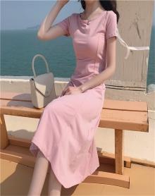 夏装2018新款韩版收腰显瘦温柔气质仙女裙百搭露背冷淡风连衣裙女