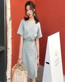 小清新裙子夏装2018新款收腰格子显瘦系带收腰气质假两件连衣裙女