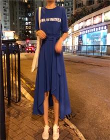 夏装2018新款韩版温柔裙超仙少女不规则收腰学生短袖冷淡风连衣裙